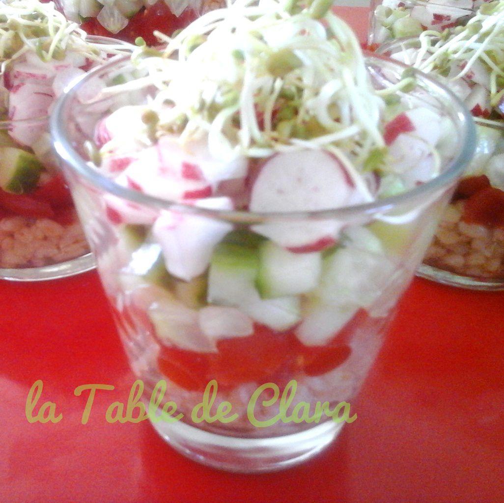 Verrines aux légumes croquants