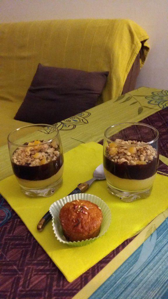 Verrines à l'orange, chocolat et son crumble