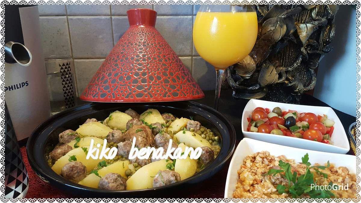 Tajine de petits pois, pommes de terre , poulet et boulettes de viande hachée