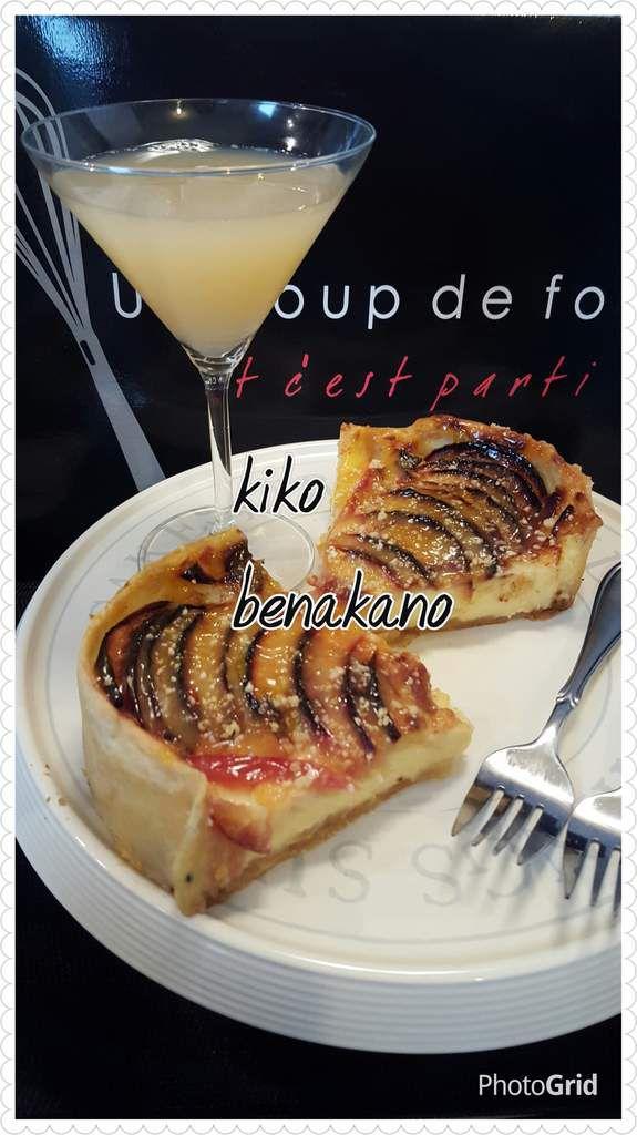 tarte au pomme fouré avec des pommes caramélisé et crème pâtissière