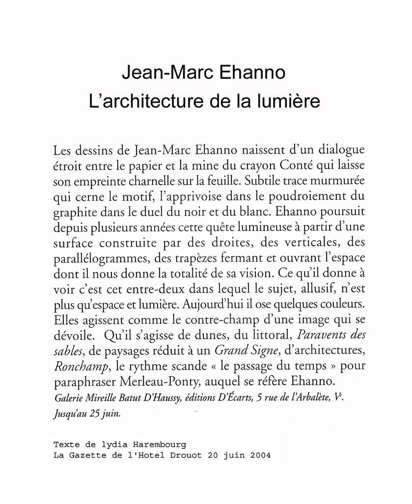 Texte de Lydia Harembourg La Gazette Drouot 20 juin 2004