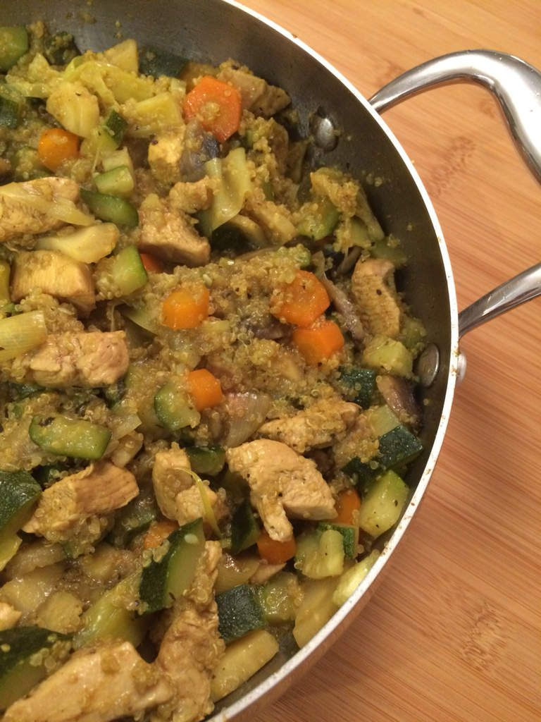 Curry de légumes, filet de poulet fermier