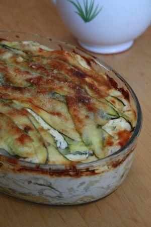 Lasagnes aux courgettes, chêvre et jambon blanc