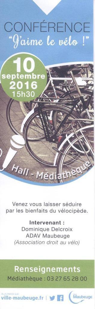 Samedi 10 septembre, conférence &quot&#x3B; les bienfaits du vélo &quot&#x3B;