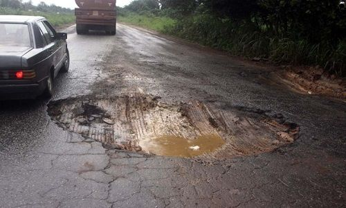 Bad Road a factor for road accidents.
