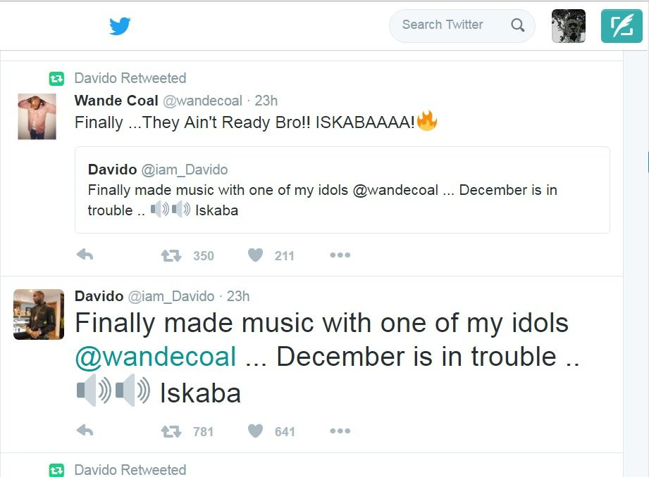 OBO & Wande Coal's tweets on the new Colabo