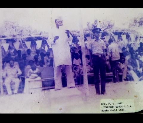 Late Hon. Odey, while delivering a speech as a councilor