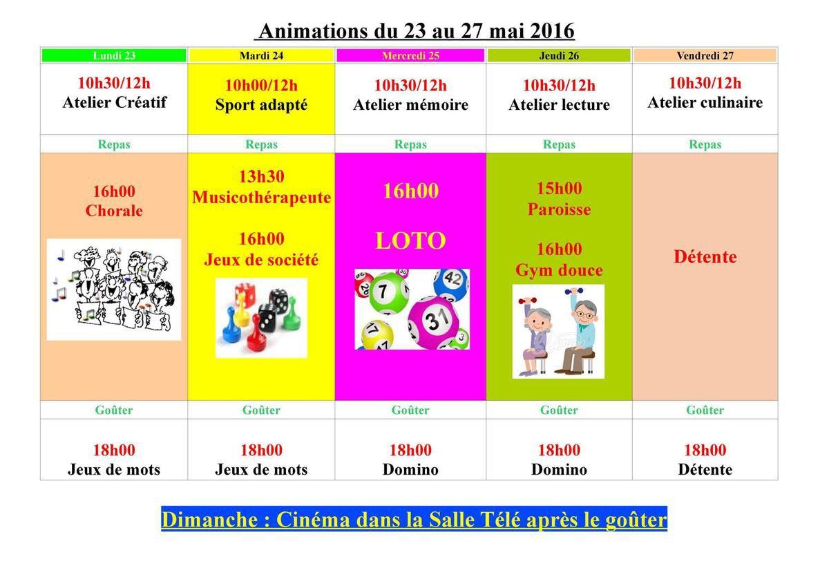 Animation du 23 au 27 mai