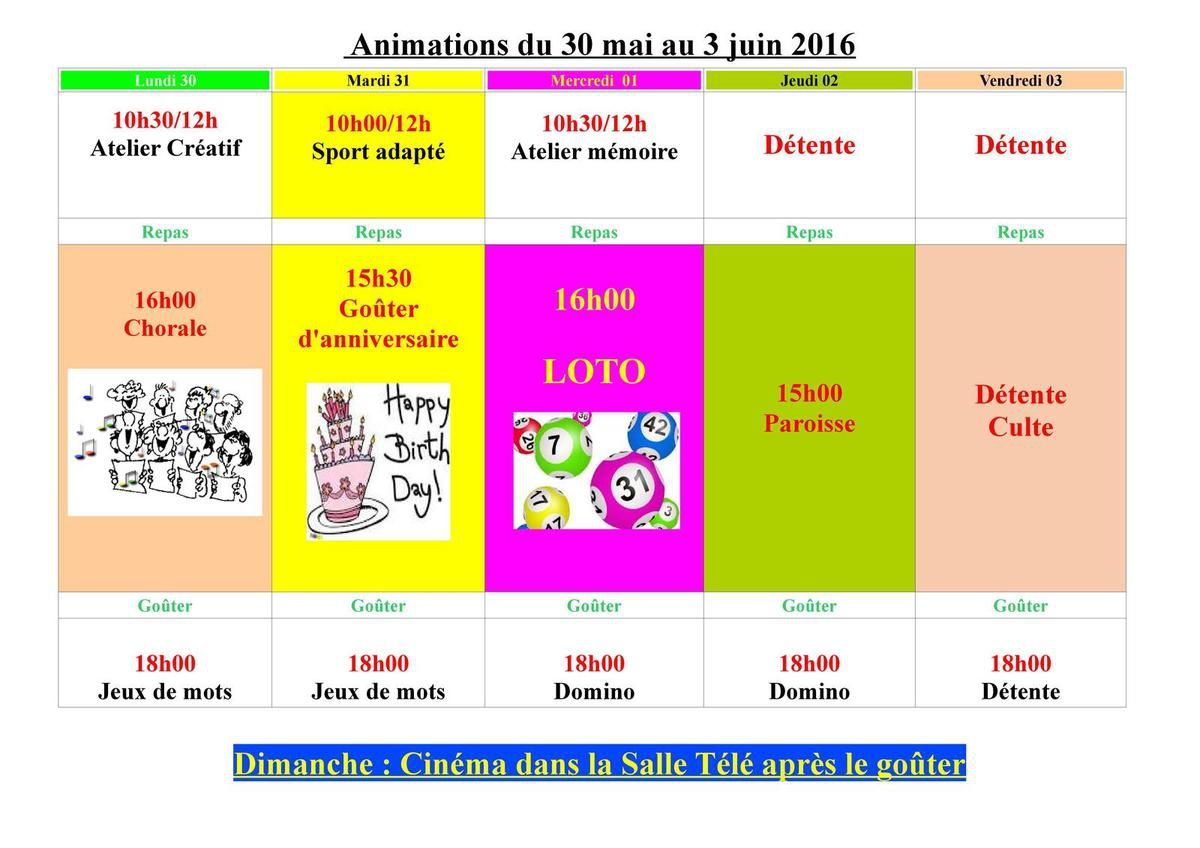 Animations du 30 mai au 3 juin