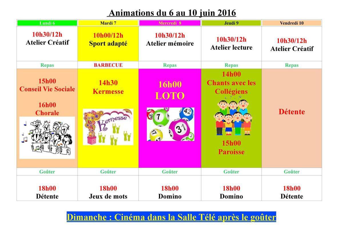 Animation du 06 au 10 juin