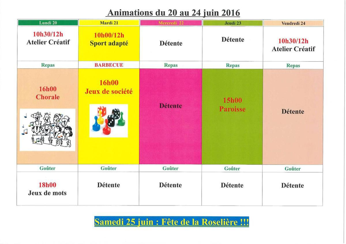 Animations du 20 au 25 juin
