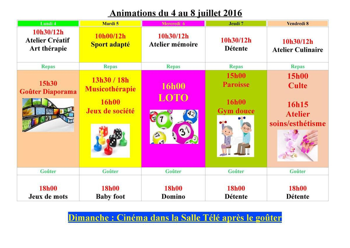 Animations du 04 au 08 juillet