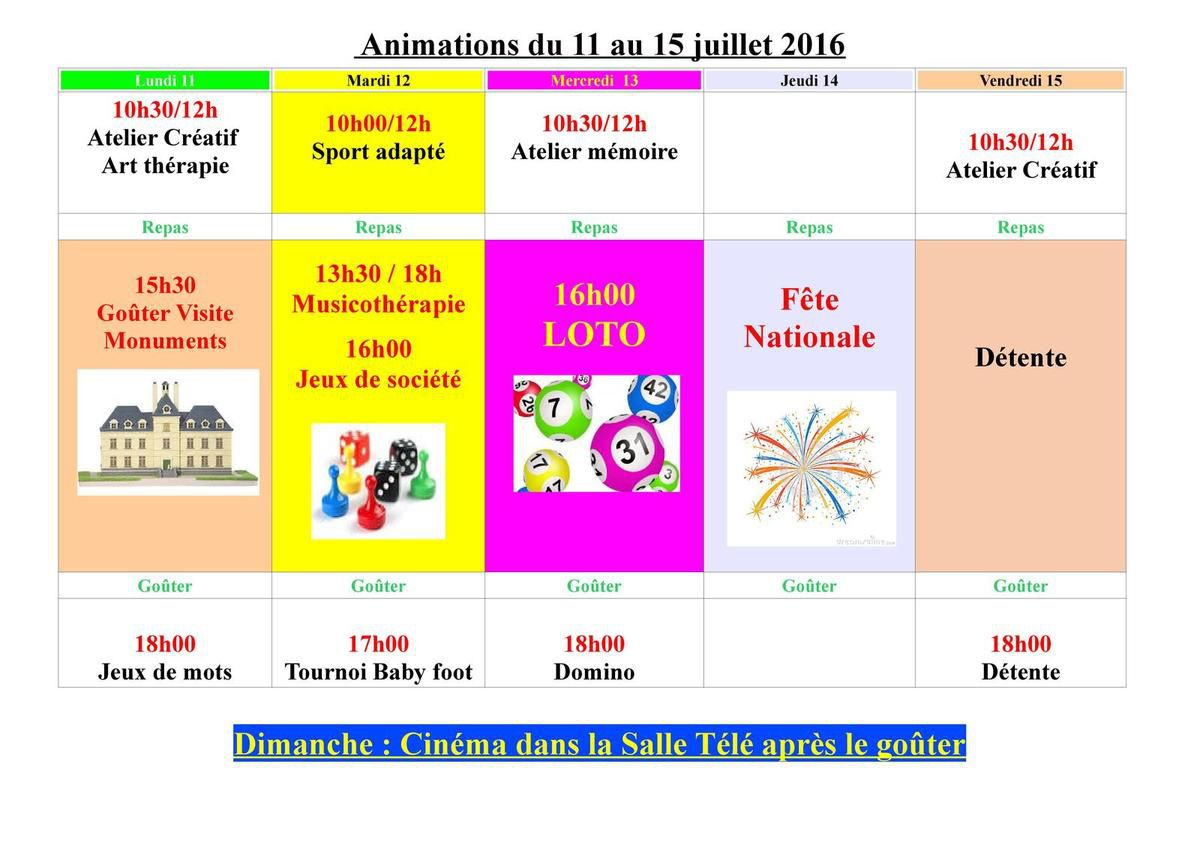 Animations du 11 au 15 juillet