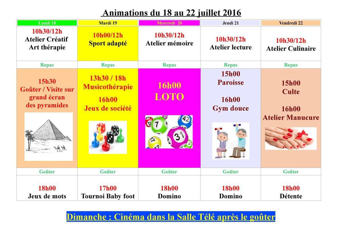 Animations du 18 au 22 juillet