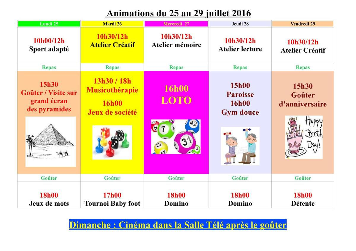 Animations du 25 au 29 juillet