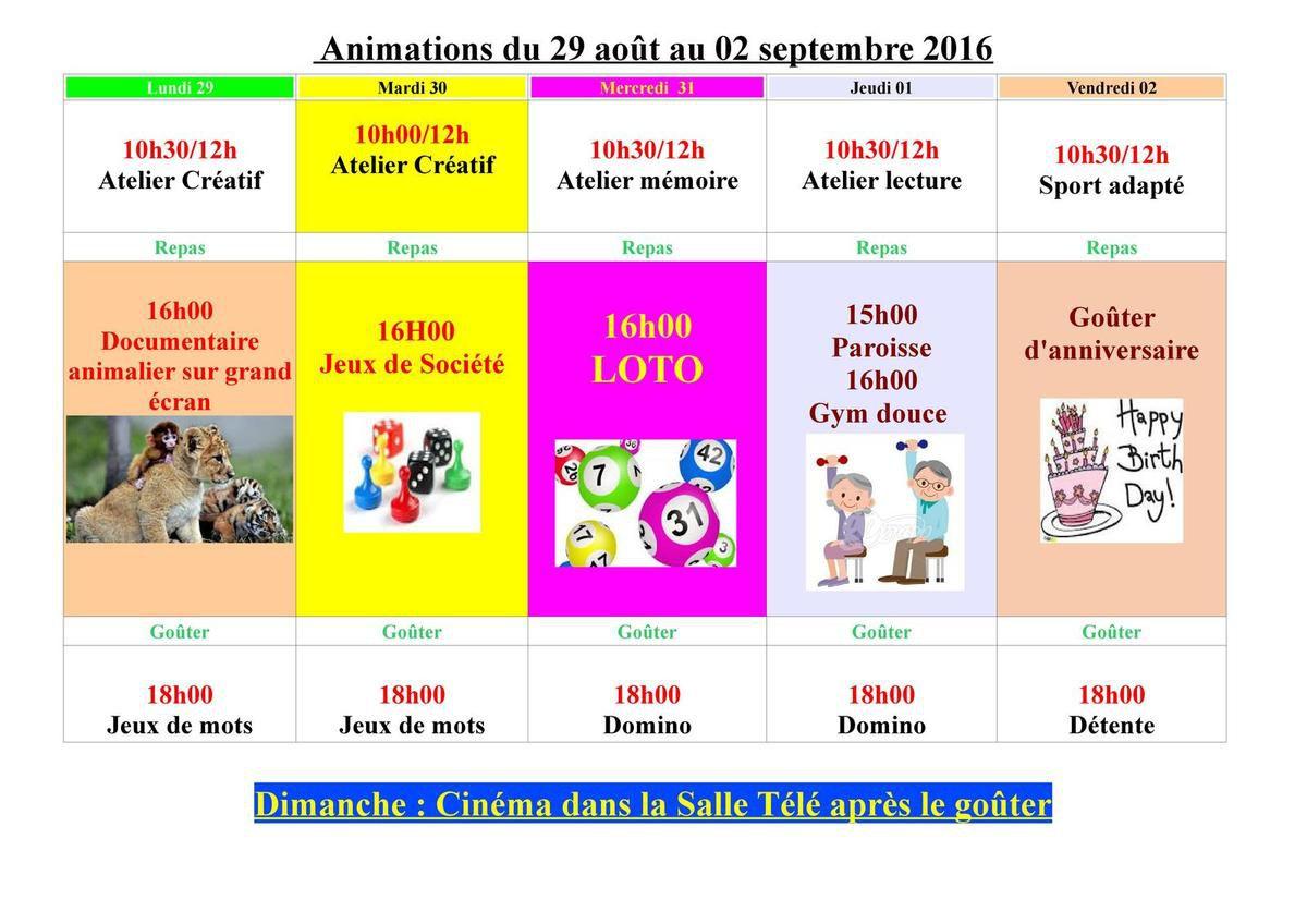Animation du 29 août au 02 septembre