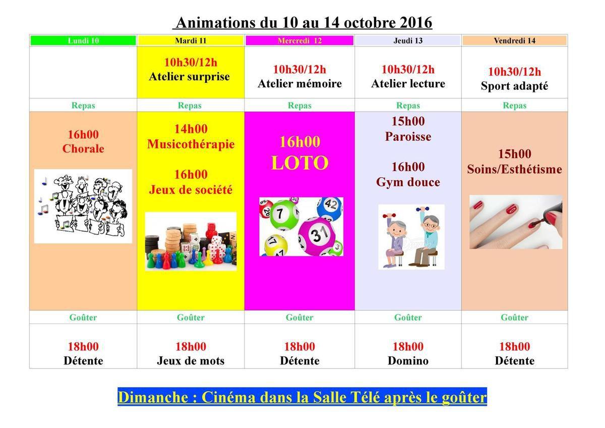 Animations du 10 au 14 octobre