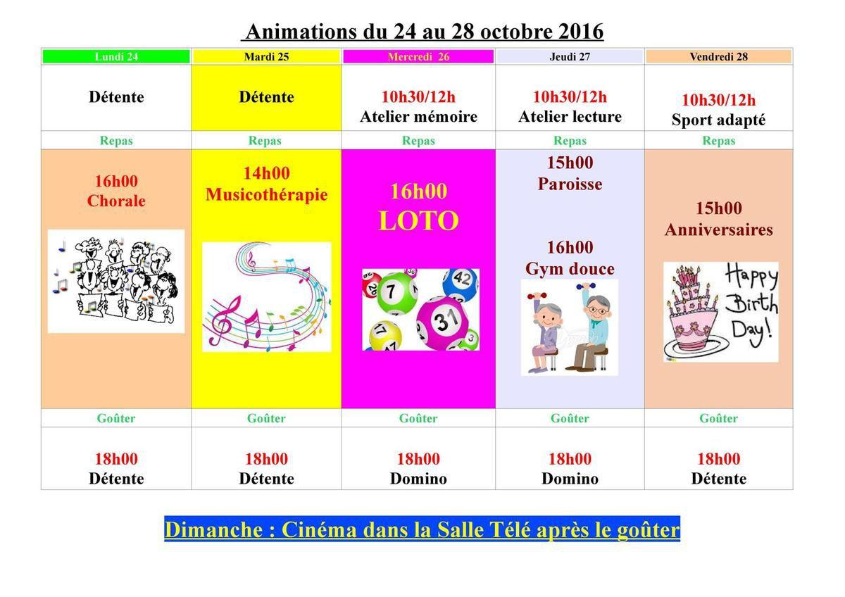 Animations du 24 au 28 octobre