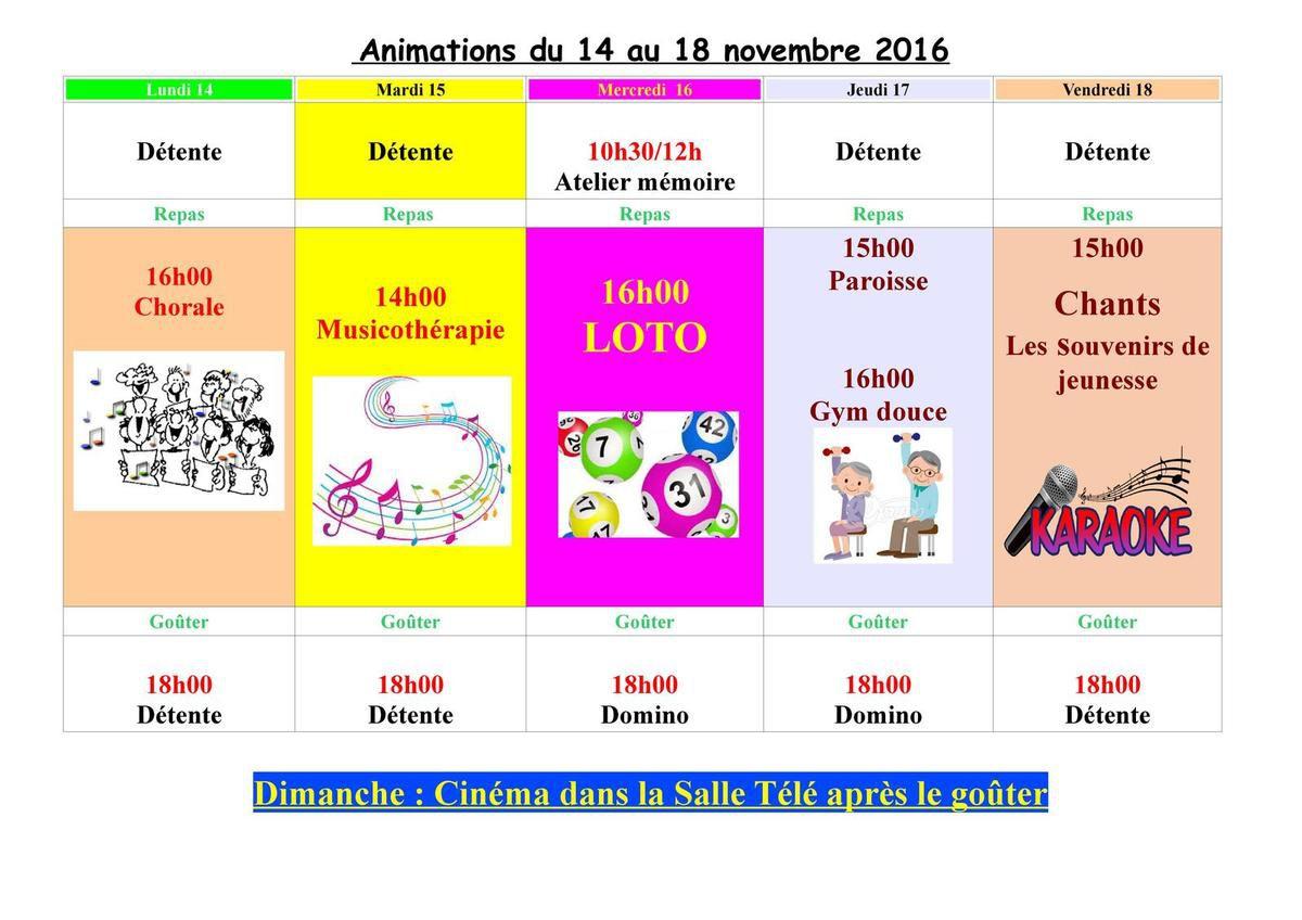 Animations du 14 au 18 novembre