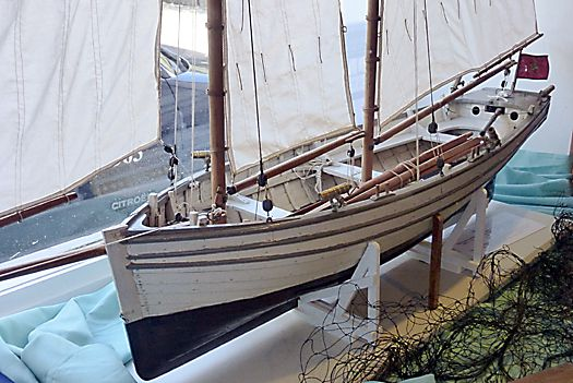 "The model of the 1789-built Peggy in the Manx Nautical Museum in Castletown, Isle of Man, is only a taster for seeing the real thing in the ""boat cellar"" below. Photo: W M Nixon"