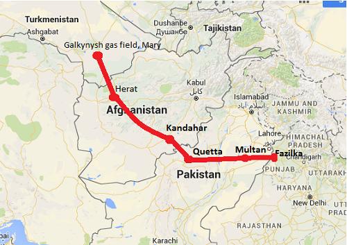 Tracé du futur pipeline TAPI traversant le Turkménistan, l'Afghanistan, le Pakistan et l'Inde.