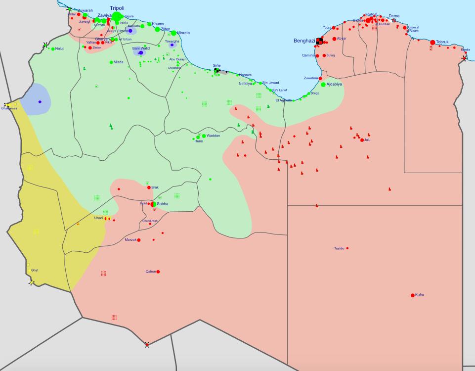 Situation en juin 2016 : en vert les forces du gouvernement d'Unité nationale &#x3B; en rouge la Nouvelle Armée Libyenne soutenue par le gouvernement de Tobruk &#x3B; en noir les djihadistes de Daesh &#x3B; en jaune les Touaregs.