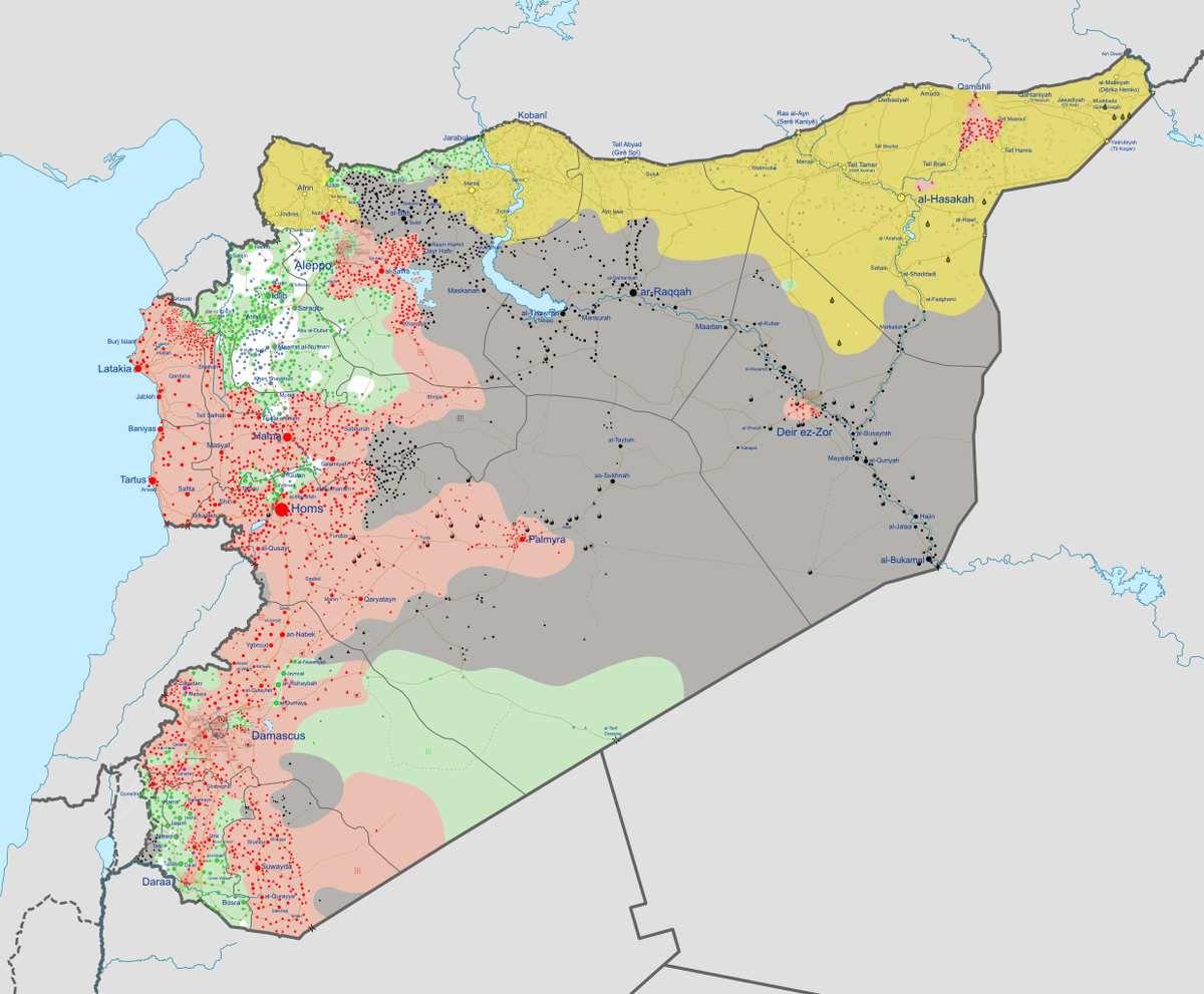 """Situation du conflit en Syrie : en rouge le régime de Damas ; en vert les """"rebelles"""" ; en gris l'Etat islamique."""