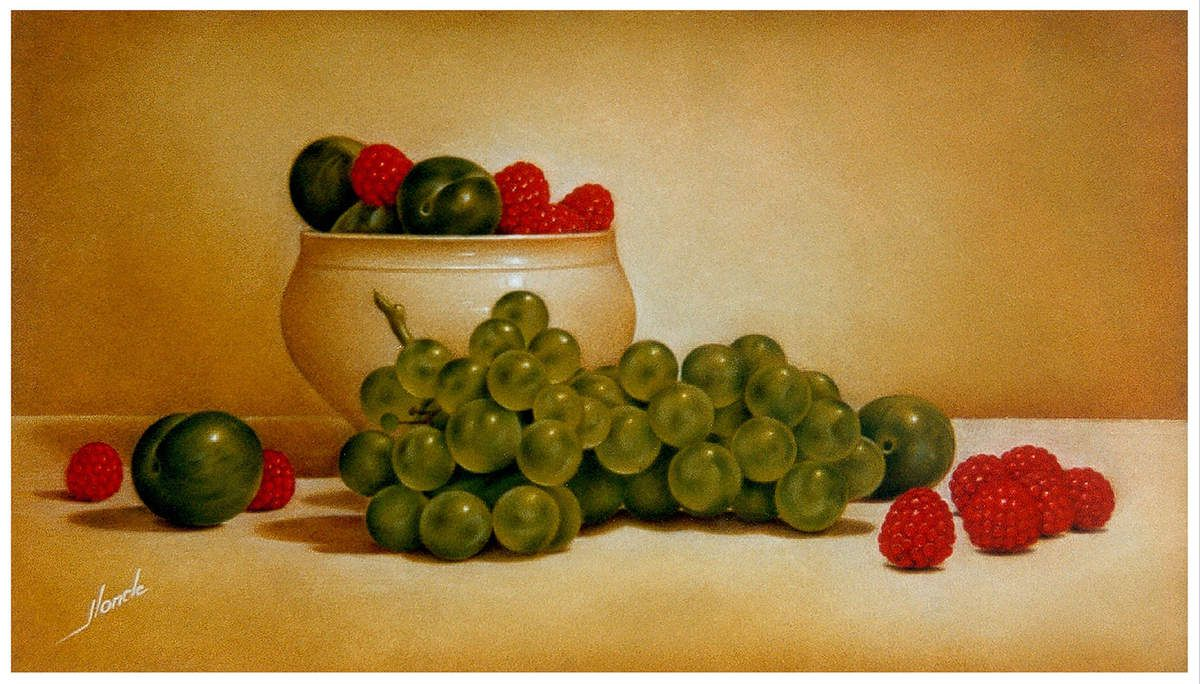 Coupe aux Fruits. 30X40 (environ). Pastel Card. 1995