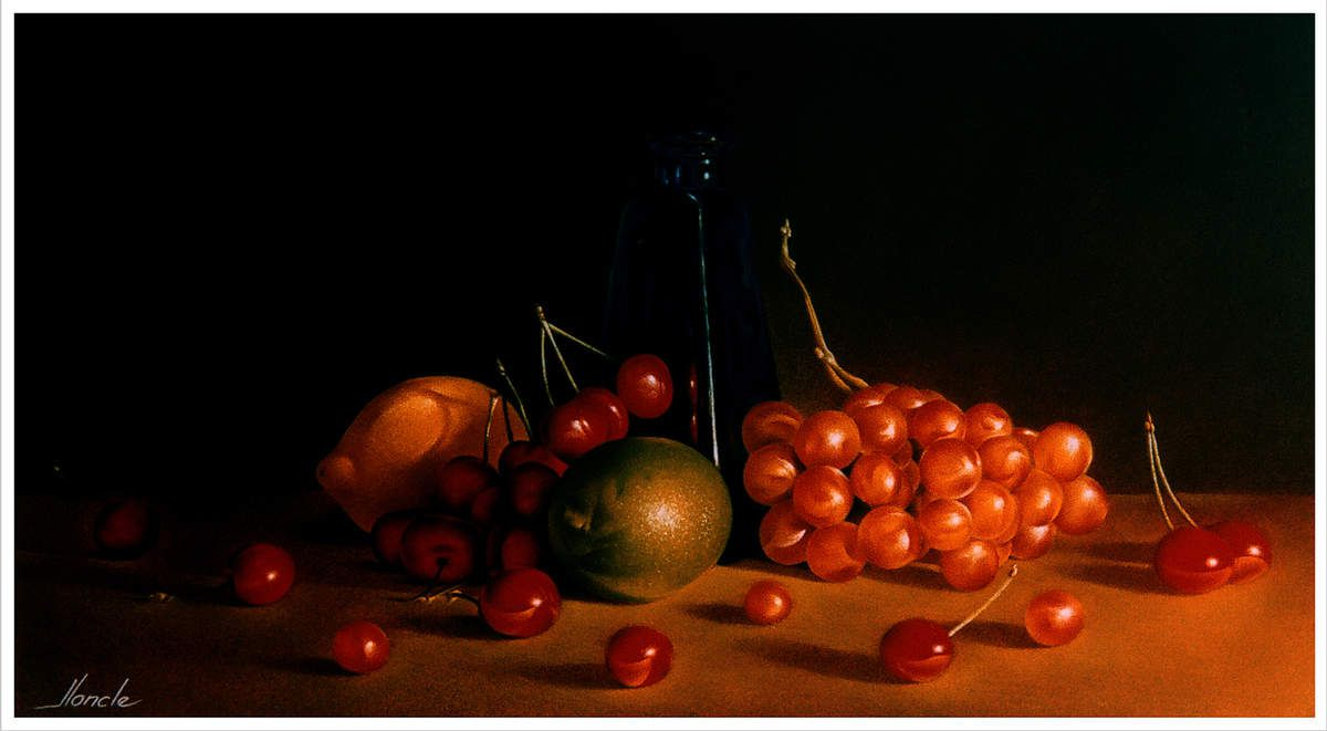 Fruits au Flacon. 35X50 (environ). Pastel Card 1996