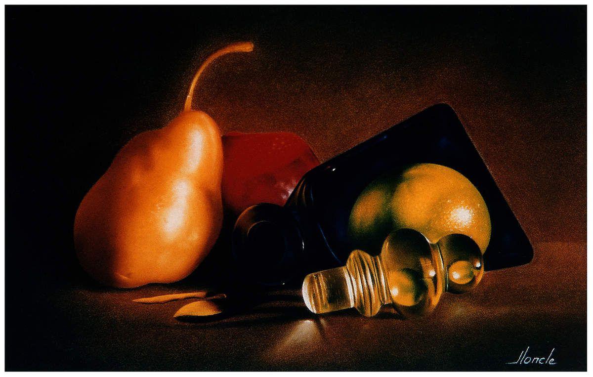 Fruits au Bouchon. 24X30 (environ) Pastel Card 1996