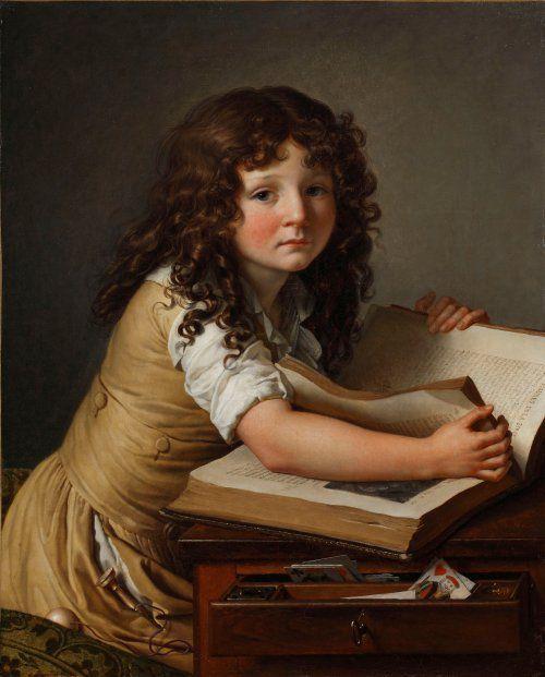 """""""Benoit Agnes Trioson regardant des figures dans un livre"""" de Anne Louis Girodet-Trioson (1797)"""