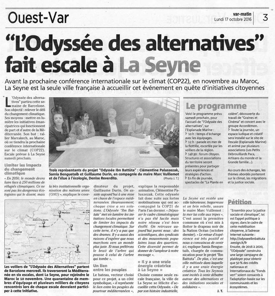 ...... L'incroyable Odyssée des Alternatives (suite) ! ...... Grand merci à Var Matin.