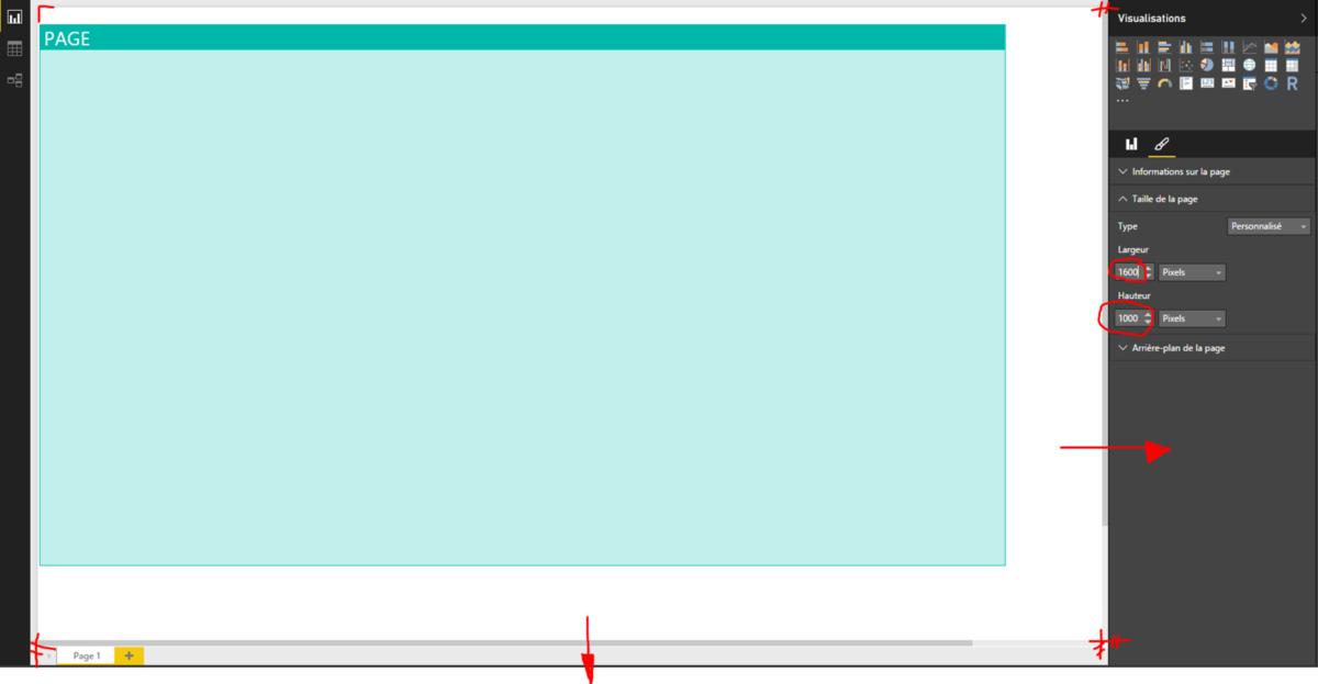 Power Bi : Changer la taille de la page de rapport et son type d'affichage