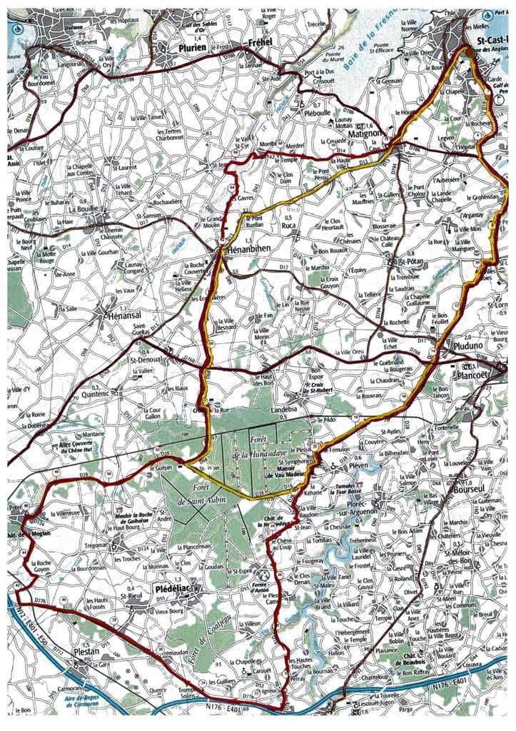 Ci-dessus les deux parcours ROUTE.  Le rouge est celui de 77km et en jaune environ 50km.