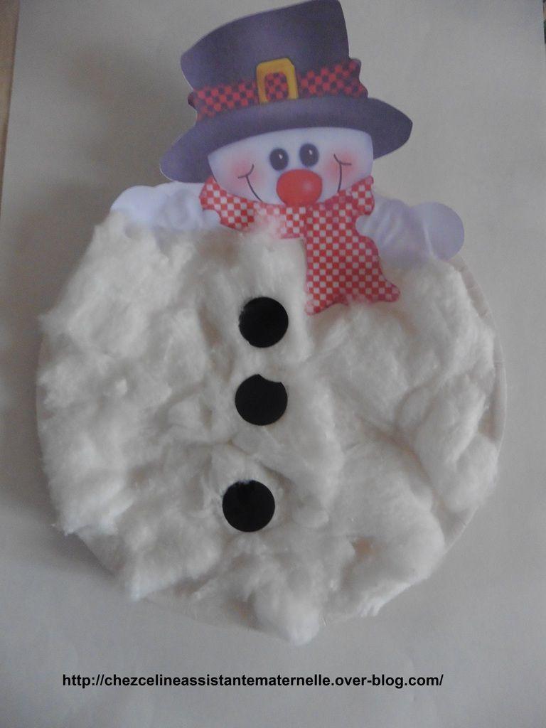 Bonhomme de neige avec assiette en carton