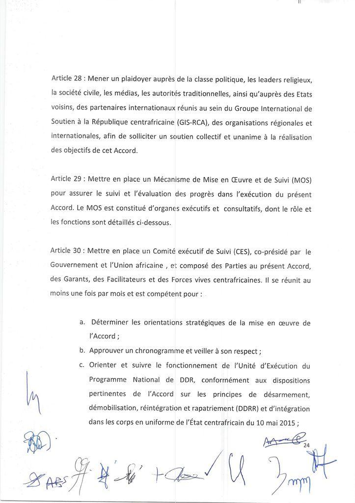 CENTRAFRIQUE : Le voile levé sur l'intégralité de l'accord de paix conclu à Khartoum et signé en Centrafrique