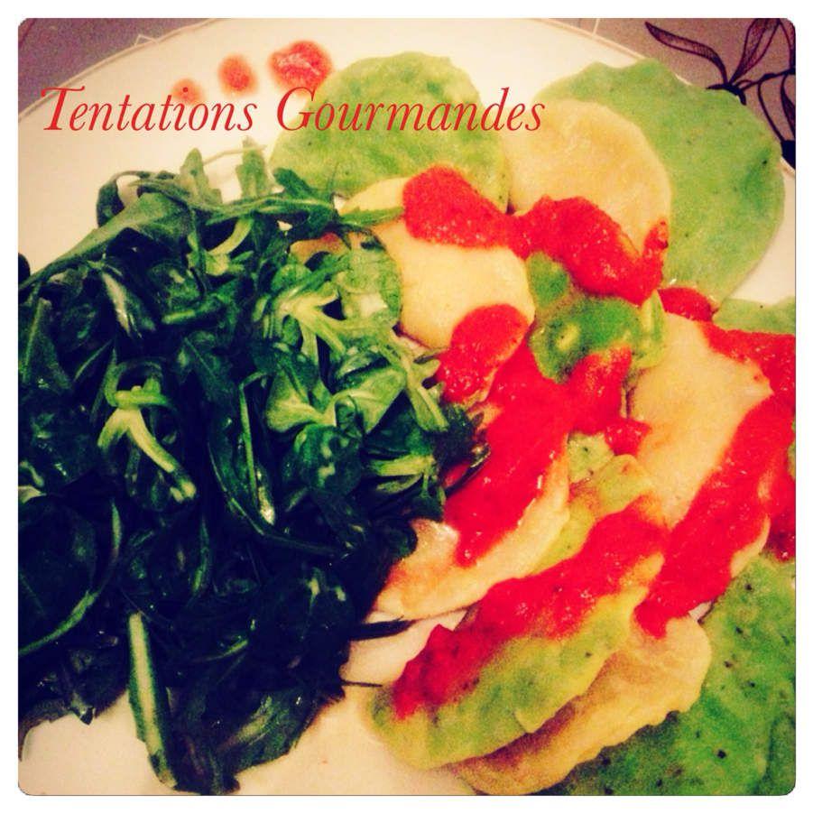 Ravioles ricotta/épinards et ricotta/jambon de parme - Coulis de tomates fraîches
