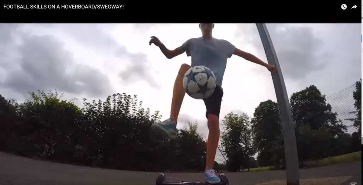 Funny self-balancing scooter soccer