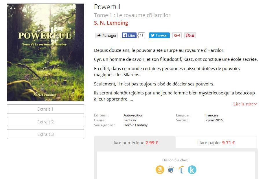 Sites de vente où trouver Saga Powerful - Tome 1 : Le royaume d'Harcilor