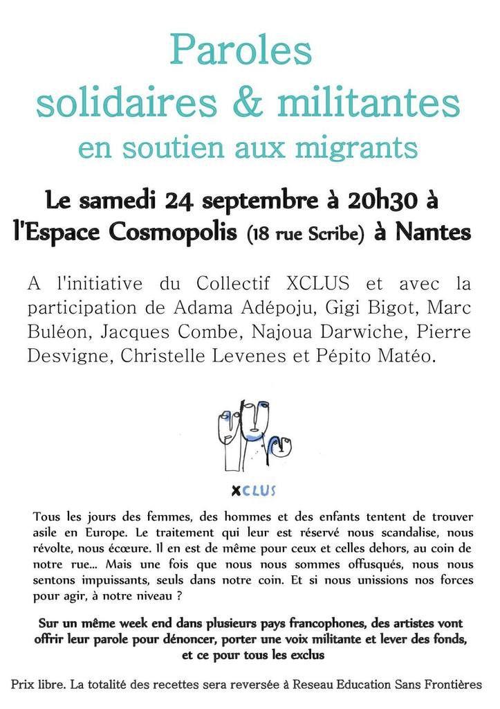 A Nantes, le 24/09, soirée Paroles solidaires et militantes