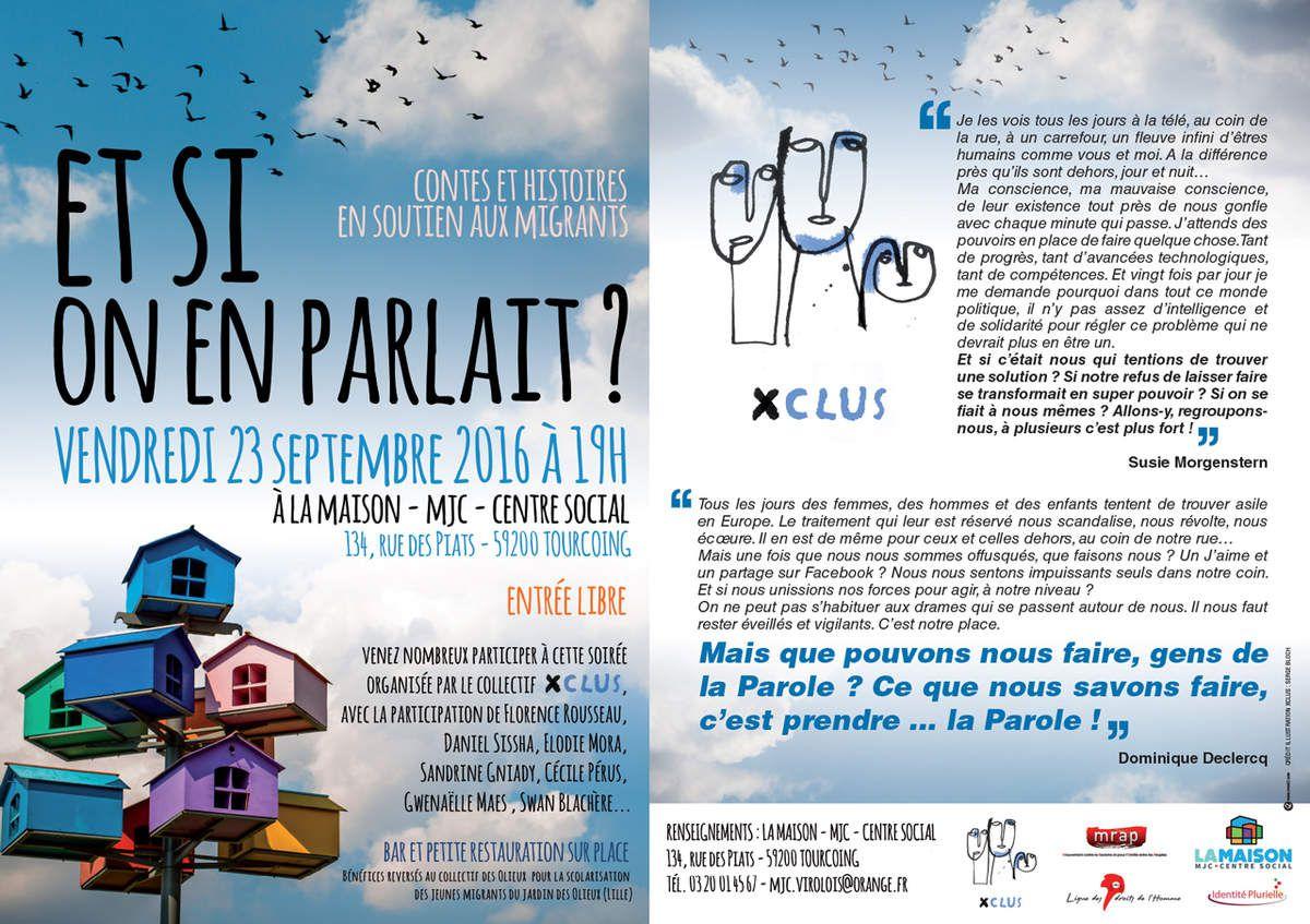 A TOURCOING LE 23/09 - &quot&#x3B;ET SI ON EN PARLAIT&quot&#x3B; CONTES ET HISTOIRES EN SOUTIEN AUX MIGRANTS