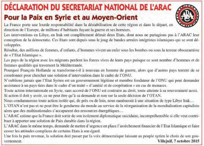 Déclaration du Secrétariat National de l'ARAC pour la paix en Syrie et au Moyen-Orient