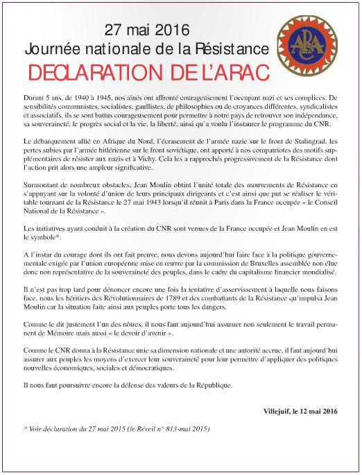 27 mai 2016 - Journée nationale de la Résistance : Déclaration de l'ARAC