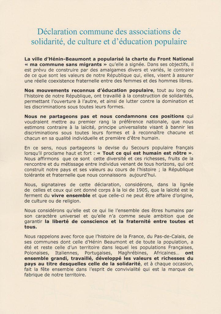 Un collectif d'associations d'éducation populaire, de culture et de solidarité lance un appel contre la charte anti-migrants et pour la solidarité