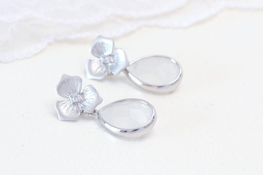 Boucles d'oreilles mariée fleur argenté