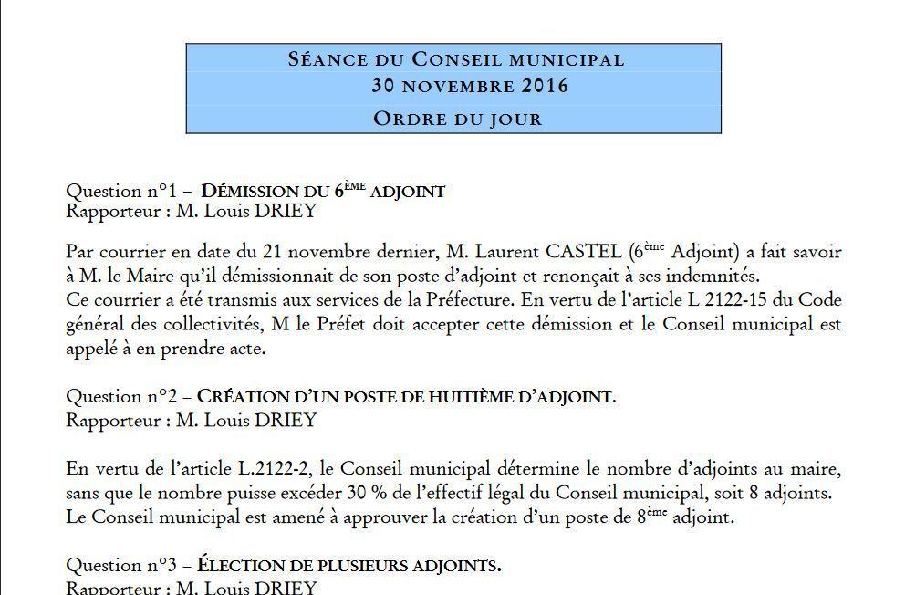 Conseil Municipal 30 novembre 2016