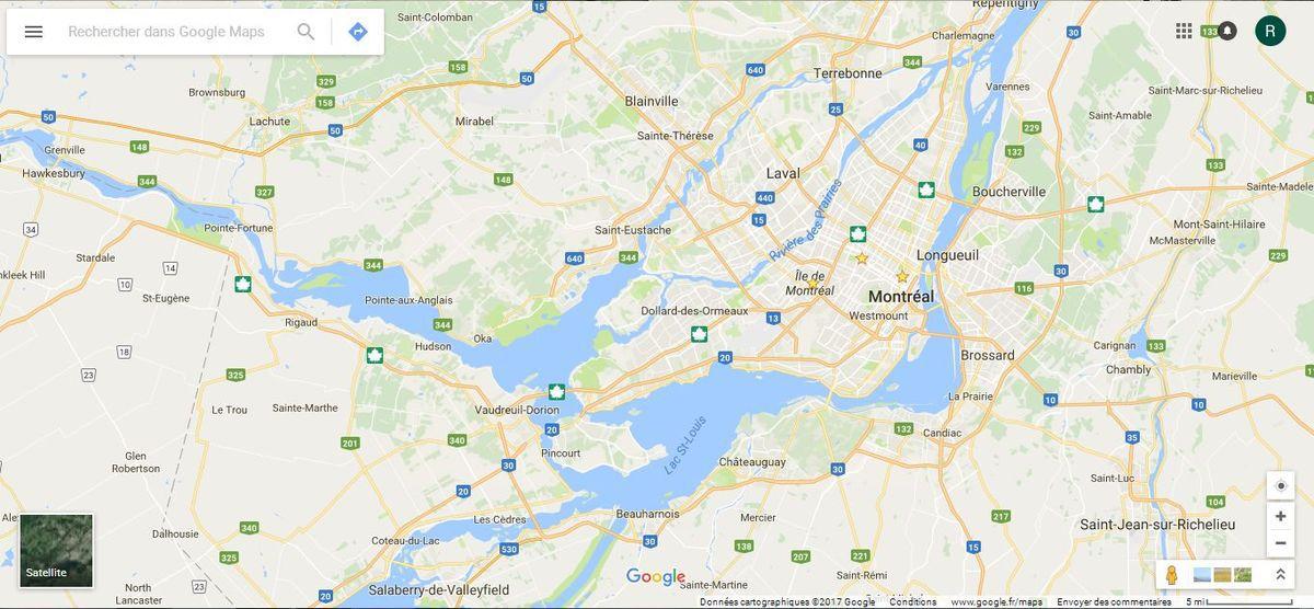 La confluence entre le Saint-Laurent et la Rivière des Ouataouais, avec l'Île de Montréal.