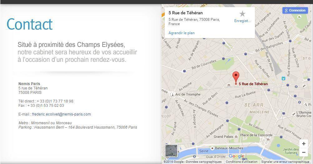 NEMIS PARIS département ENR énergies renouvelables - 5 rue de Téhéran 75008 Paris France