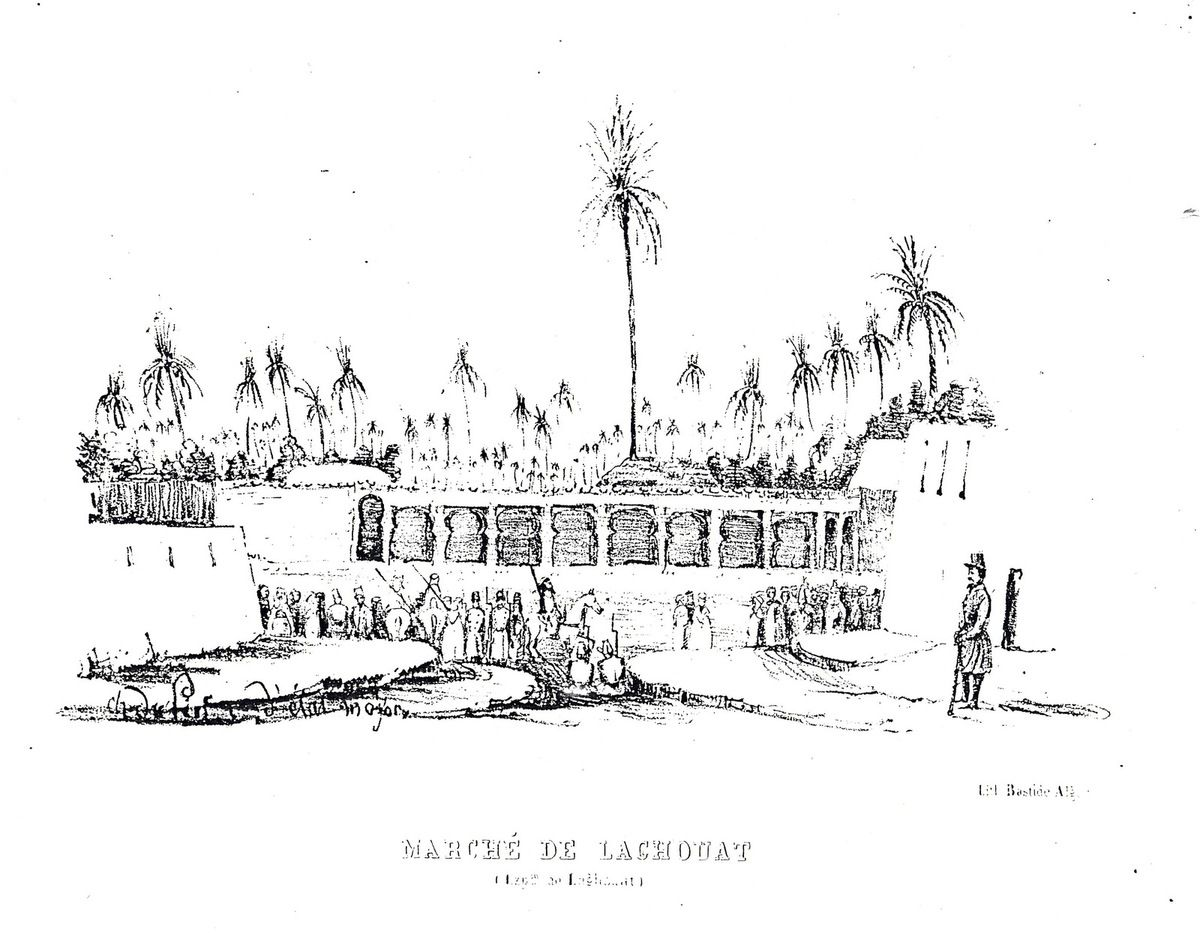 Le marché de Laghouat et le foundouk de Laghouat par Du Pin, capitaine d'état-major, mai 1844