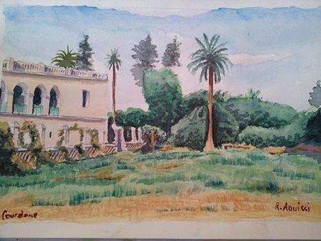 Aquarelle du palais de Kourdane par Rachid AOUISSI (Laghouat)